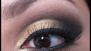 Maquiagem dourada com preto - Por Amanda Pereira