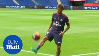 PSG new boy Neymar holds his new shirt and shows off his skills - Daily Mail