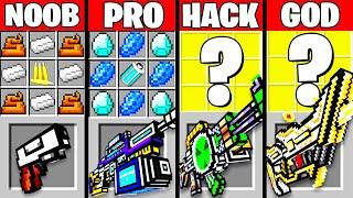 Minecraft Battle: EPIC GUN WEAPON CRAFTING CHALLENGE - NOOB vs PRO vs HACKER GOD ~ Funny Animation