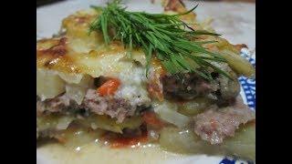 Картофельная запеканка с фаршем и соусом бешамель, быстрый рецепт