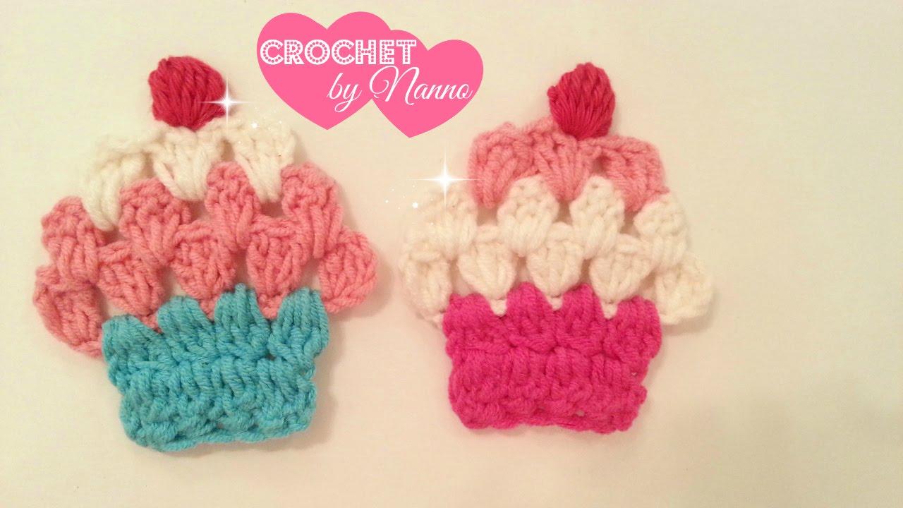 e77a4adc2  كروشية اطفال #1 كاب كيك لتزيين ملابس الاطفال / اشغال يدوية #1 Crochet  cupcake 🎀for girls dresses - YouTube