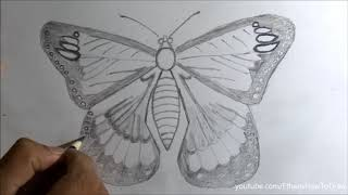 pencil drawing pictures of nature for kids How to draw a butterfly for kids - step by step