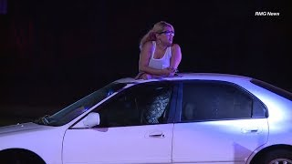 Woman arrested by LAPD after high speed pursuit around the San Fernando Valley, California.