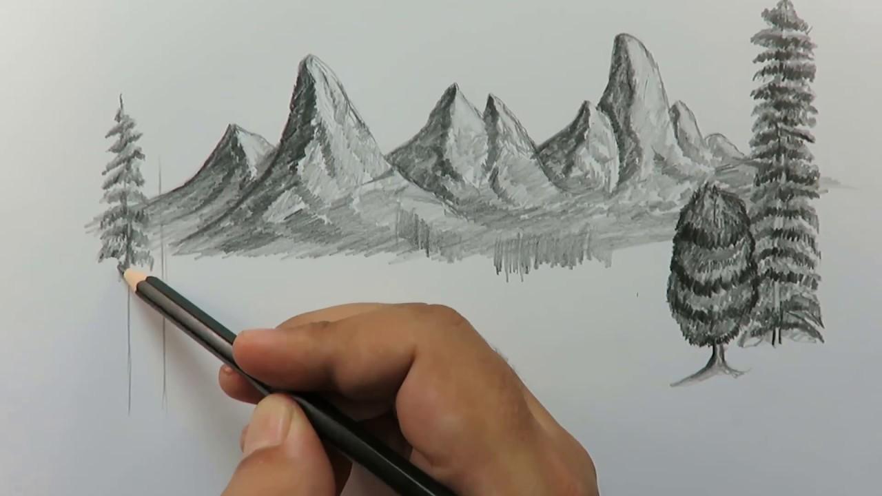 تعلم رسم منظر طبيعي خطوة بخطوة بالرصاص Youtube