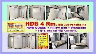 Hidden Wall Bed HDB 4 RM HWB QUEEN + PillowBox +Wardrobe + StorageCabinets.HWB HUB.HDB.BTO.EC