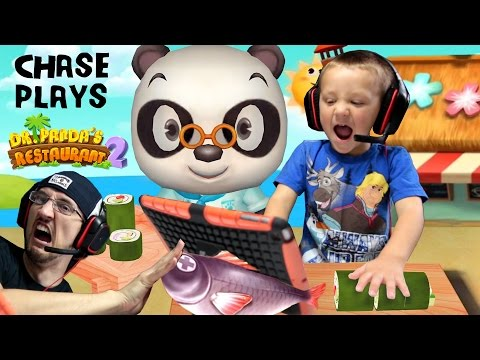Chase plays Dr. Panda's Restaurant 2!!  Cooking Food for Picky Dudes w/ FGTEEV Duddy | KIDS iOS APP