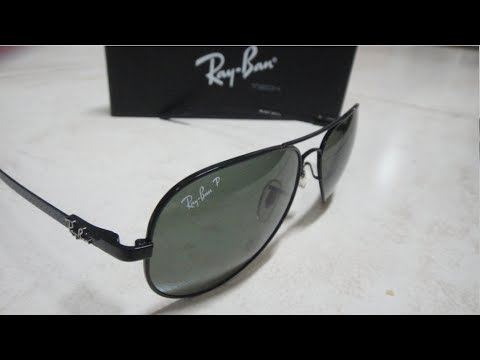 ray ban sunglasses italy  ray ban aviator polarized rb8307 unboxing and polarize demo made in italy