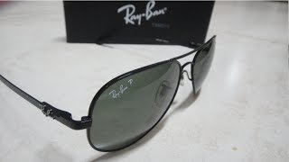 Ray Ban AVIATOR POLARIZED RB8307 UNBOXING AND POLARIZE DEMO - MADE IN ITALY