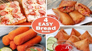 4 Easy Bread Snack Recipes | Bread Pizza Toast | Potato Bread Rolls | Bread Samosa | Pizza Pocket