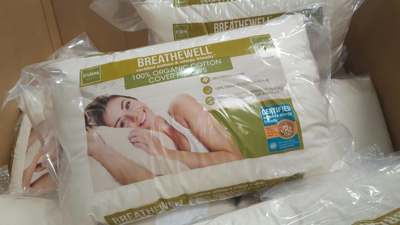 COSTCO Breathewell 100 Organic Pillow  12  2 Pack