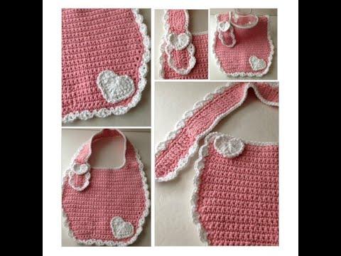 Bib Pink And White Crochet Bib Toddler To Adult Youtube