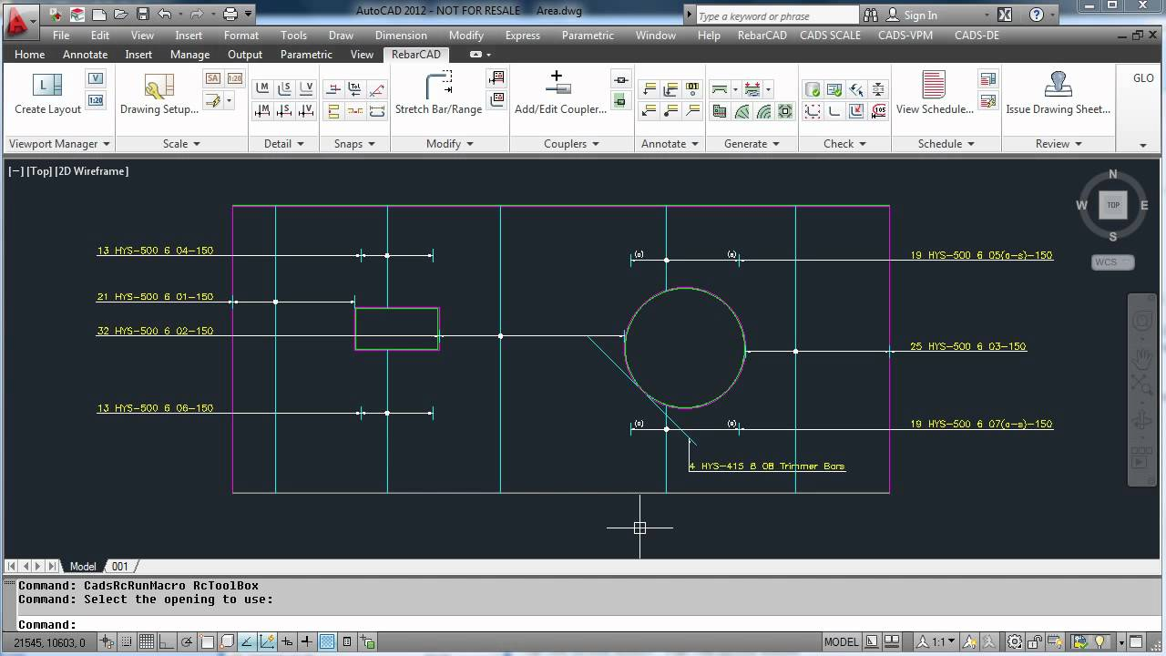 RebarCAD India Video Demo 8 (Applying trimmer bars to an opening)