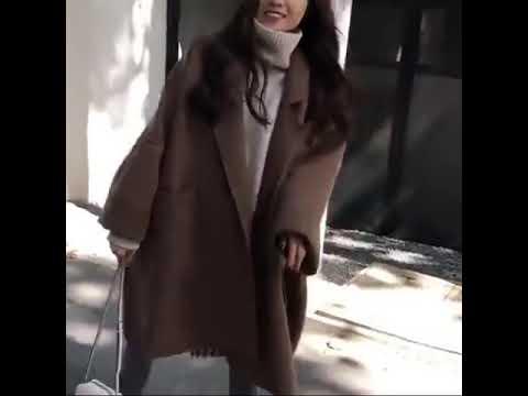 kirahosi 세련 여성 모직 롱 아우터 루즈 슬림 추동 데일리 469호+ 덧신 증정 W2qokdj