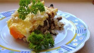 Zapiekanka z ryżem, pieczarkami i jajkami