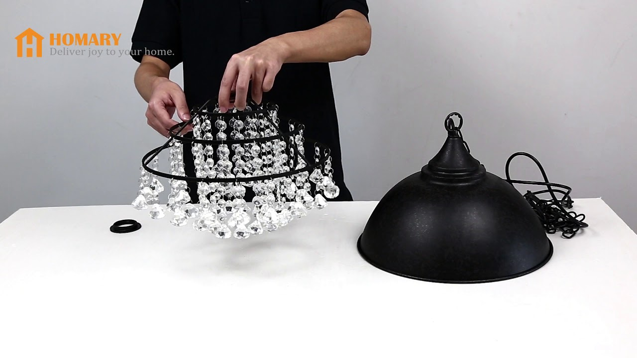 Installing Metal Dome Shade 1 Light Pendant With Clear Crystal