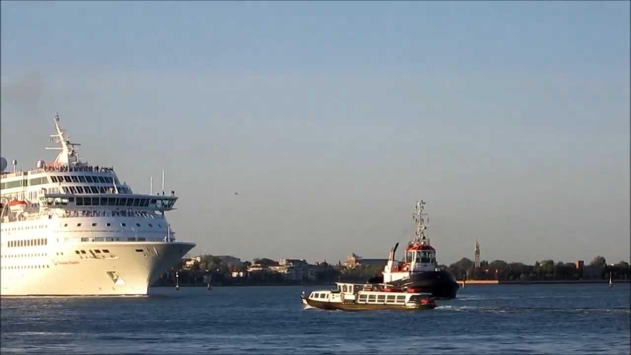 Tugboats Guiding Huge Cruise Ship Into Venice Port Ship Towers - Cruise ships in venice port