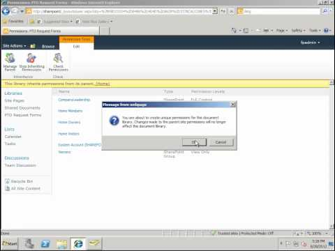 How To Assign Permissions To A Document Library In SharePoint 2010 - SharePoint 2010 Tutorials