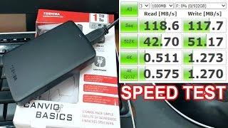 Toshiba Canvio Basics USB 3.0 1TB - Speed Test (Read/Write MB/s)