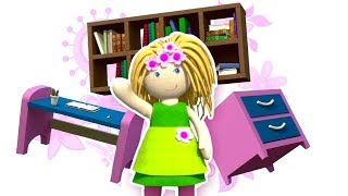 A dollhouse cartoon. Learn furniture: an office - Baby cartoons for 1 years old.