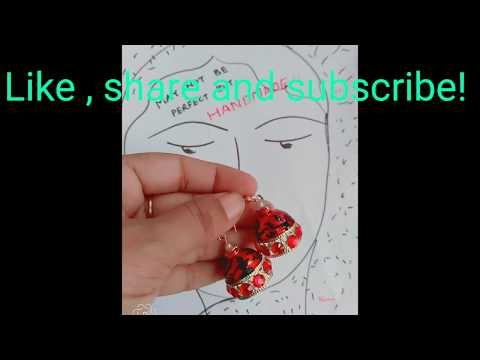 DIY earrings warli art jhumka with Glass colours and 3d liner