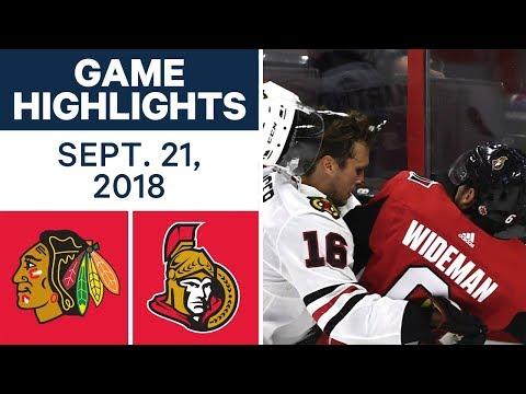 NHL Pre-season Highlights | Blackhawks vs. Senators - Sept. 21, 2018