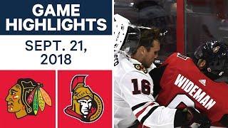 NHL Pre-season Highlights   Blackhawks vs. Senators - Sept. 21, 2018