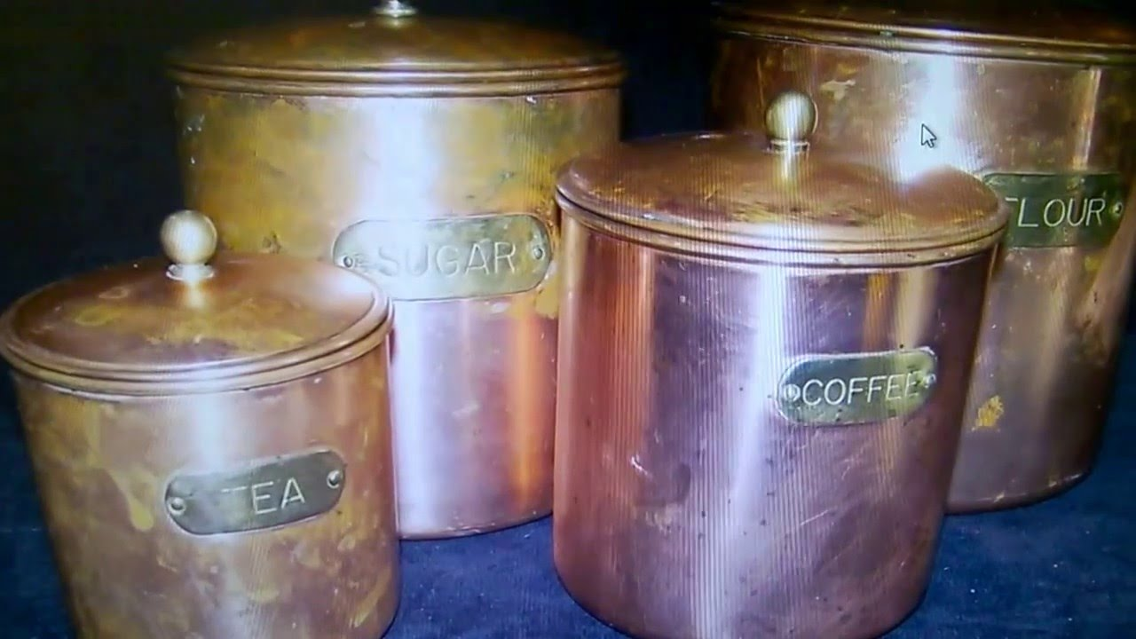 ebay antiqueset 4 antique metal canisters copper brass