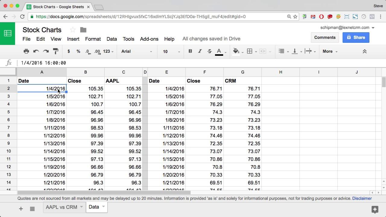 googlefinance function track multiple stocks in google sheets youtube