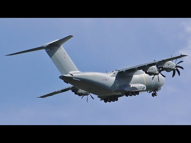 Royal Air Force Airbus A400M Atlas Takeoff at Prestwick Airport