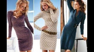 Вязаная мода, вязаные платья спицами 2018, модные платья зима 2018