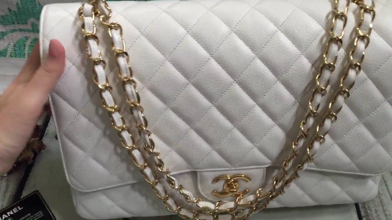 011cd296c727 Chanel White Caviar Maxi Double flap [SOLD] - YouTube