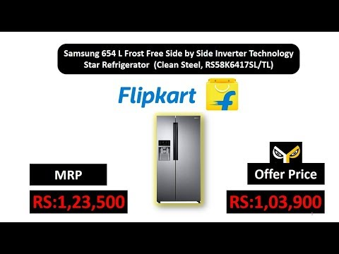 Samsung 654 L Frost Free Side by Side Inverter Technology Star  (Clean Steel, RS58K6417SL/TL)
