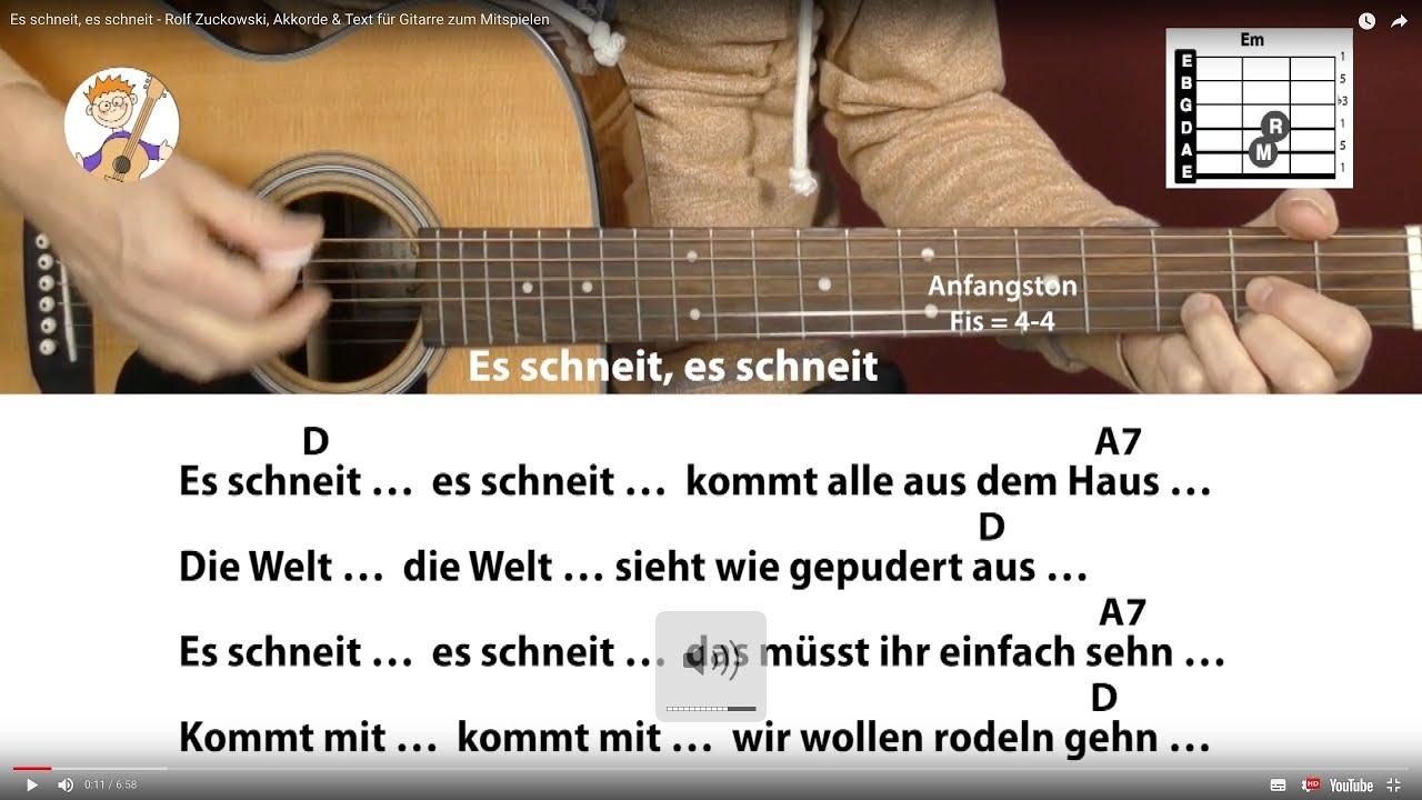 Rolf Zuckowski Weihnachtslieder Texte.Es Schneit Es Schneit Rolf Zuckowski Akkorde Text Fur Gitarre Zum Mitspielen