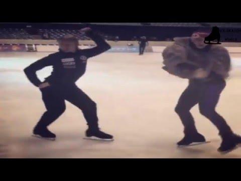 Evgeni Plushenko & Johnny Weir in training , so funny hahahah