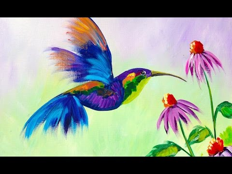 Beginner Learn to Paint A HummingBird and Flower | TheArtShe