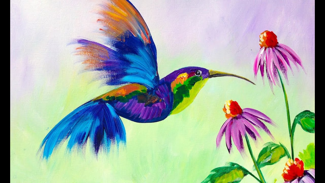 Beginner learn to paint a hummingbird and flower youtube for Learn to paint online