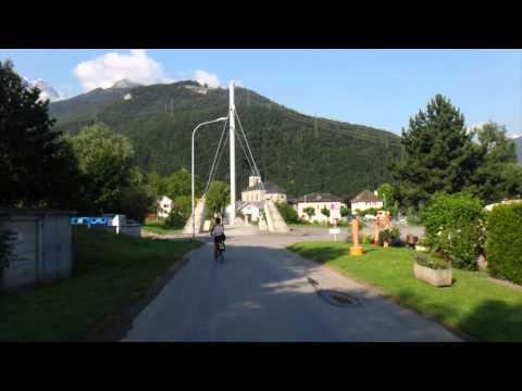 Canal du Rhône entre Martigny et Villeneuve - Cyclocamping en vélo Brompton