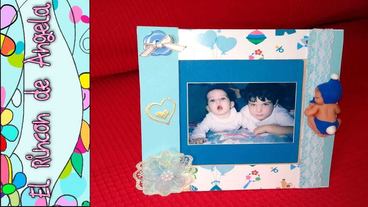 Diy como decorar un marco de fotos de bebe con la t cnica - Como decorar un marco de fotos ...