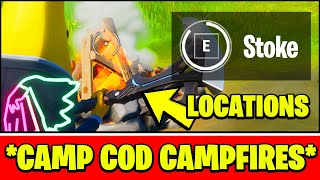 Stoke CAMPFIRES at CAMP COD Location (Fortnite Week 9 Challenges)