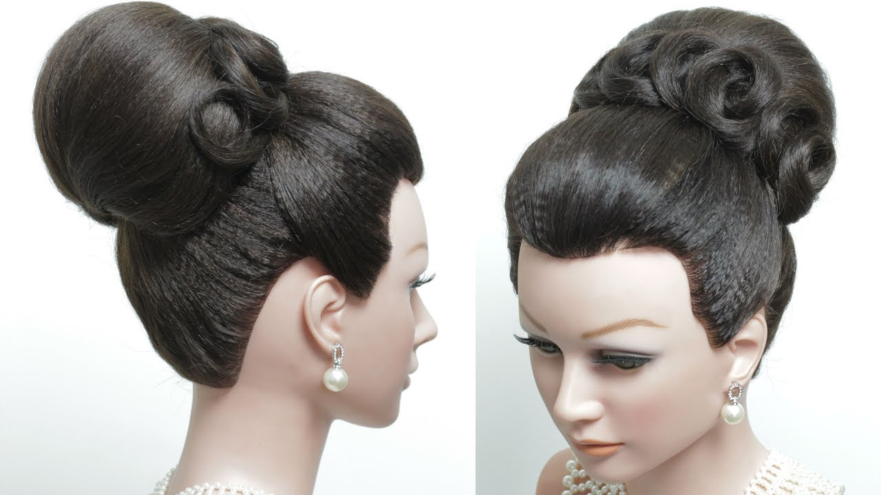 bridal hairstyle for long hair tutorial. classic high bun. wedding updo