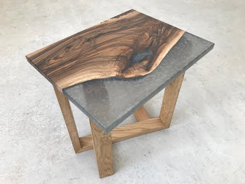 Grey Marble English Walnut Epoxy Resin Side table on Diagonal Oak base
