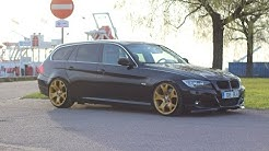 Stanced BMW e91 330D passing by (Style 63 BMW X5 wheels)