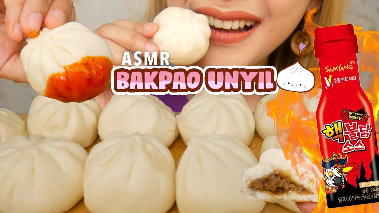 ASMR BAKPAO KUKUS AYAM UNYIL PAKE SAUS SAMYANG 2X SPICY!! | ASMR Indonesia