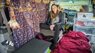 Solo Female lives in Van in Canada's Most Expensive City. Saves $1000+ in Minimalist Minivan Camper.