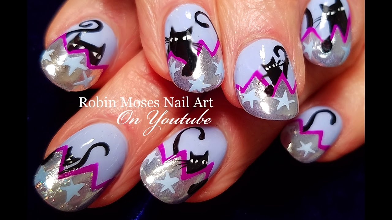 Halloween Nails | DIY Chrome Tips with Black Cats Nail Art ...