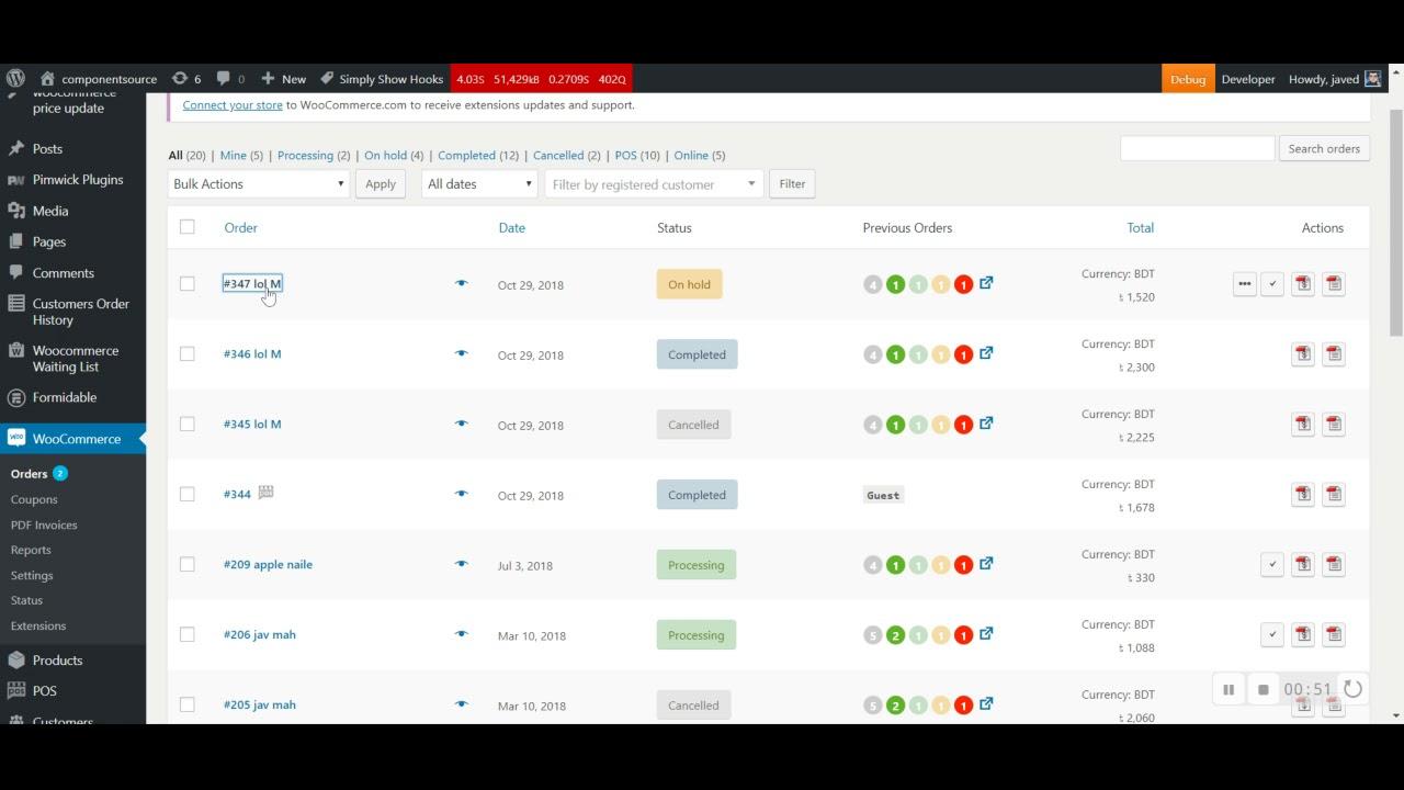 Woocommerce Customers Order History – WordPress plugin