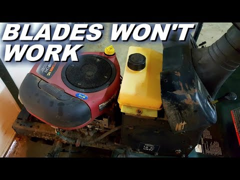 Riding mower blades will not turn on.