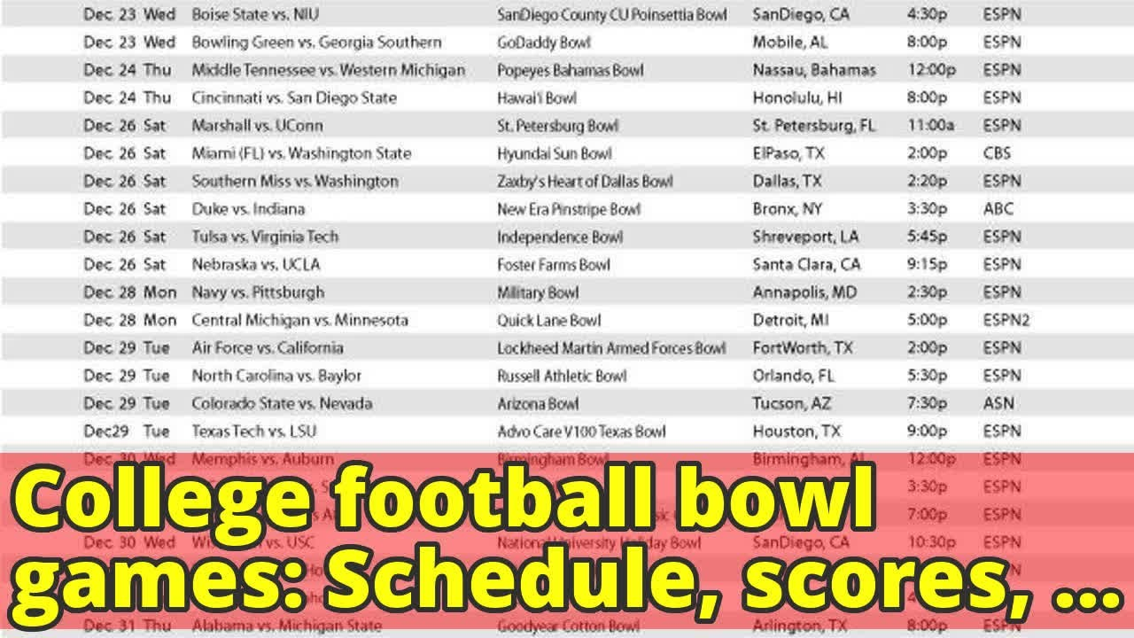 College Football Bowl Games Schedule Scores Times Tv