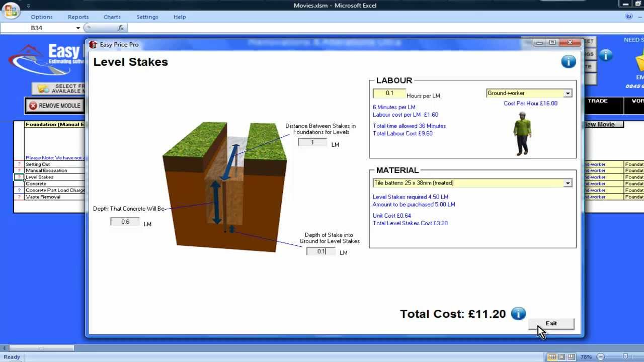 Foundations (Manual Excavation) Estimating Module
