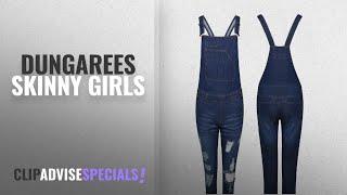 Top 10 Dungarees Skinny Girls [2018]: Ladies Fashion Denim Long Dungaree Ash Ripped Braces
